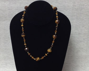Vintage Goldtone Tiger's Eye Beaded Necklace with Orange Crystal Beads