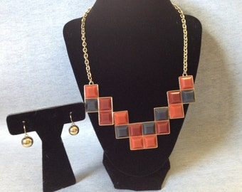 Vintage Costume Goldtone Necklace with Orange, Red, and Black Stone Inset and Matching Earrings