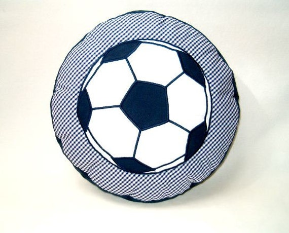 Soccer Ball Pillow, Football Pillow into Children's Room - Ball Pillow- Blue and White Cushion -