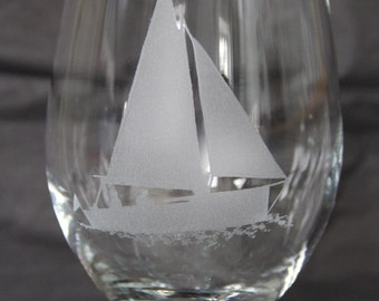 Hand etched Sailboat wine glass.