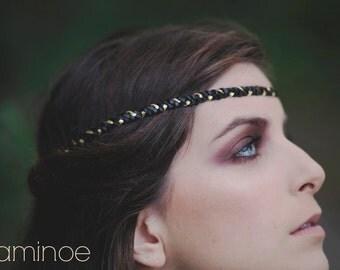 "4 ears headband braided black leather and gold ""Salem"""