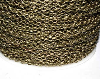 15ft  Antique Brass Chain -Donut Cable Chain 4x4mm