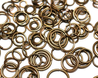 250pc Antique Brass Finished Jump rings 4-10mm-mixed