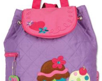 Backpack Quilted fabric Cupcake  girl Stephen Joseph includes personalization