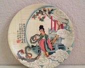 Vintage Asian Bamboo Painted Plate