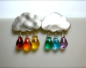 Rainbow Raindrop Silver Cloud Earring