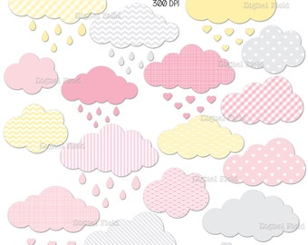 Cloud clip art set No.2 - printable digital clipart in grey, pink and yellow - instant download