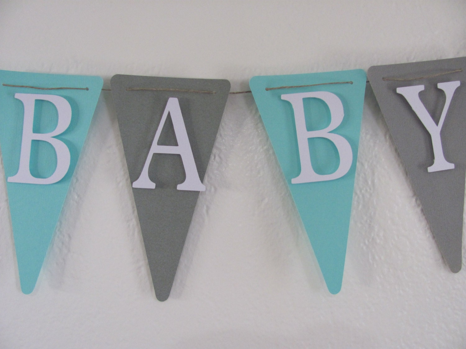 turquoise grey and white baby shower banner baby shower
