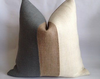 Gray, Natural and Cream Burlap Vertical Stripe Pillow Cover