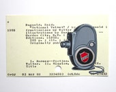Print of Movie Camera painted on National Velvet Library Card - dewey decimal gray library card catalog