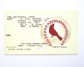 Cardinals Baseball Library Card Art - Print of my painting of a St. Louis Cardinals baseball on library card