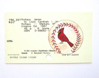 Cardinals Baseball Library Card Art - Print of my painting of a St. Louis Cardinals baseball on library card
