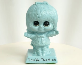 "Blue ""I Love You This Much""  Big Eyed Girl Figurine - 1970 W & R Berries - Hippie Mod Nursery Decor"