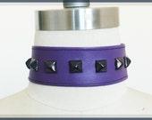 Purple Vegan Leather Choker with Black Studs, Cynt D B