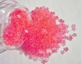 "Solvent Resistant Glitter Transparent Pink Stars Glitter 1 Ounce Glitter 1/8"" for Nail Art and Nail Polish Frankening Supply"