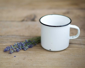 Vintage Russian Enamel Mug in White, Shabby Chic Kitchen, Enamelware, Rustic Home Decor