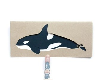 Blank Whale Card: Laser Cut Orca Whale--Nautical Card