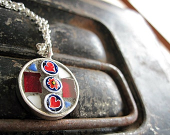 Round Mosaic Silver Pendant, Red Hearts, Wearable Art