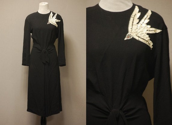 1940's The Lady Eve Dress - Old Hollywood Little Black Dress - Rayon Crepe - Beaded Dove - Medium/Large