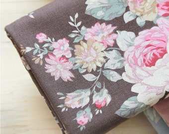 "Cotton Fabric Roses - Brown - 44"" Wide - By the Yard 44700"
