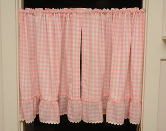Vintage Cafe Curtains Pair Panels Pink Gingham White Rick