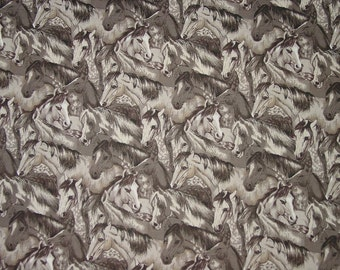 Oop Horse Heads Equestrian Horse Fabric - Beth Ann Bruske for David Textiles Rare New