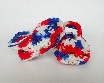 Red White Blue Baby Girl Sandals Crocheted Patriotic 3 To 6 Month  Infant Boy Booties July 4 Summer Clothing
