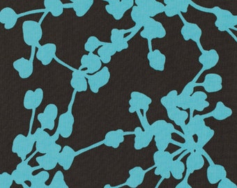 Amy Butler Belle- Coriander in Pine - FAT QUARTER - PWAB112 - Dark blue background with teal buds and stems