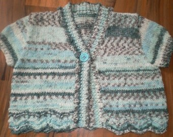 SALE cute hand knitted little girls short sleeve cardigan shrug green mix 1-2 years