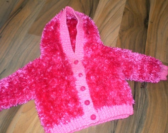 SALE snuggly and soft to touch hand knitted baby hooded jacket pink 6-9 month