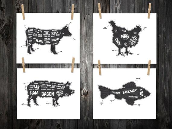 Chicken Printable Quotes: 4 Butcher Diagram Prints Cow Pig Fish Chicken Kitchen