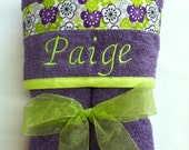 XL Hooded Towel in Purple for Girls, Kids, Teens, Adults, with Floral Ribbon and FREE Personalization