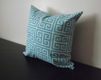Decorative Throw Pillow, Turquoise Blue Greek Key Pillow,16x16, 18x18 Decorative Pillow Cover, Accent Pillow, Toss Pillow, Cushion Cover