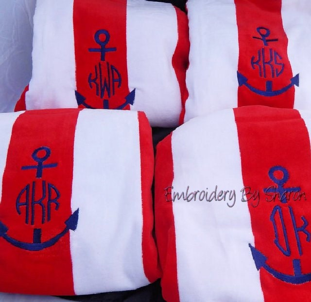 Embroidered Towels Custom: Monogrammed Beach Towels Personalized Towel Embroidered