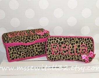 Custom Leopard Print Large and Travel Wipes Case Set