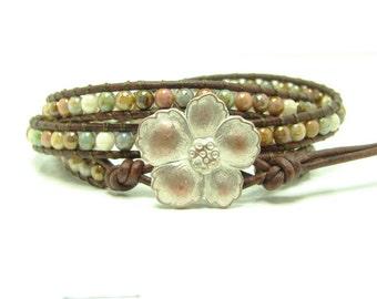Beaded Leather Wrap Bracelet, Earthtones Beaded Wrap Bracelet,  Triple Wrap Bracelet