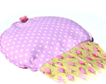 Cupcake Heating pad, aromatherapy heat pack, spring allergies, migraines, arthritis, radiant orchid dots