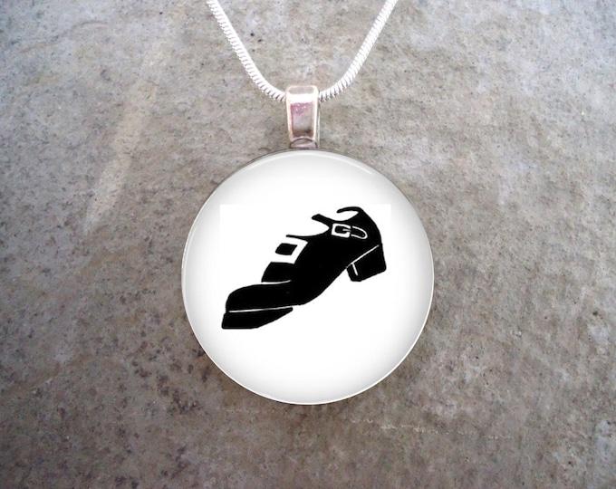 Irish Dance Jewelry - Hard Shoe - Glass Pendant Necklace - Celtic Jewellery