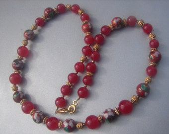 Cloisonne Beads & Red Sapphire Necklace 403.