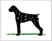"""Personalized Boxer Uncropped 7"""" x 5"""" (or larger) Personalized Gift, Name Art, Boxer Portrait, Silhouette"""