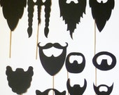 Beards on a stick photobooth Props on a stick (22 pcs) fu man chu mustache stache mustashe Wedding bash photo prop