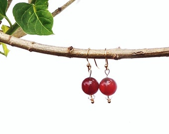 Red stone and beaded earrings with 14 ct gold plated posts