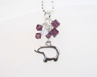 Bear Charm necklace dainty petro silver tone with crystals
