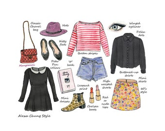 Alexa Chung Style - fashion illustration print - handmade by Mangomini