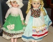 Vintage Collection of  9 DOLLS Little MISS GINNY & others.  Ireland, Holland etc.  1970's Boxed
