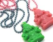 Pink Buddha Necklace, Buddha Pendant, Pink Acrylic Buddha Hangs from Pink Ball Chain, Buddha Jewelry, Yoga Jewelry