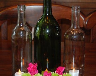 Set of 3 Wine Bottle Hurricanes- 1 Large and 2 Regular Bottles- Perfect for the Holiday Table