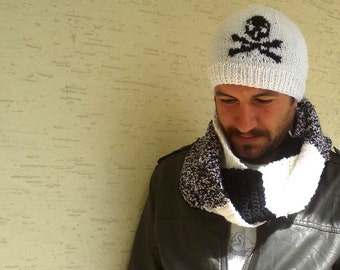 Set of mens beanie and scarf, Knit hat men, Knit Scarf Men,in white and black, skull beret, gift for him, Men Accessories, Men's Knitted hat
