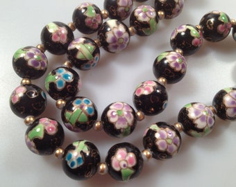 "Vintage Beads CLOISONNE Beaded Necklace Chinese Export Enamel Beads Hand Painted 12mm Beads 24"" Long Cloisonné Beads Vintage Necklace"