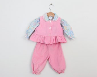 Vintage Baby Outfit Shirt Vest Pants in Pink Corduroy 12 months